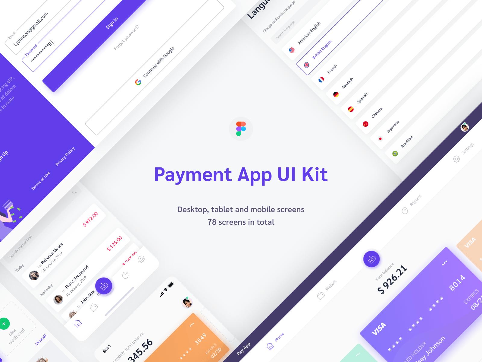 Figma payment finance app UI kit