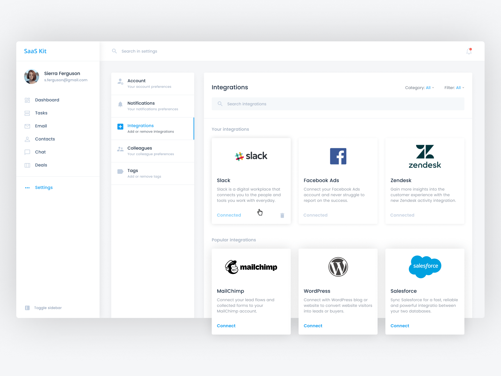 Integrations page UI