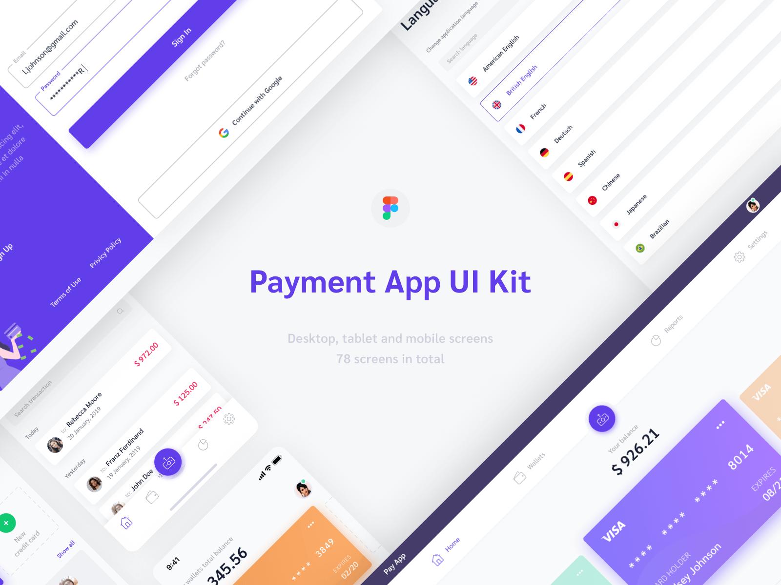 Payment app UI kit Figma