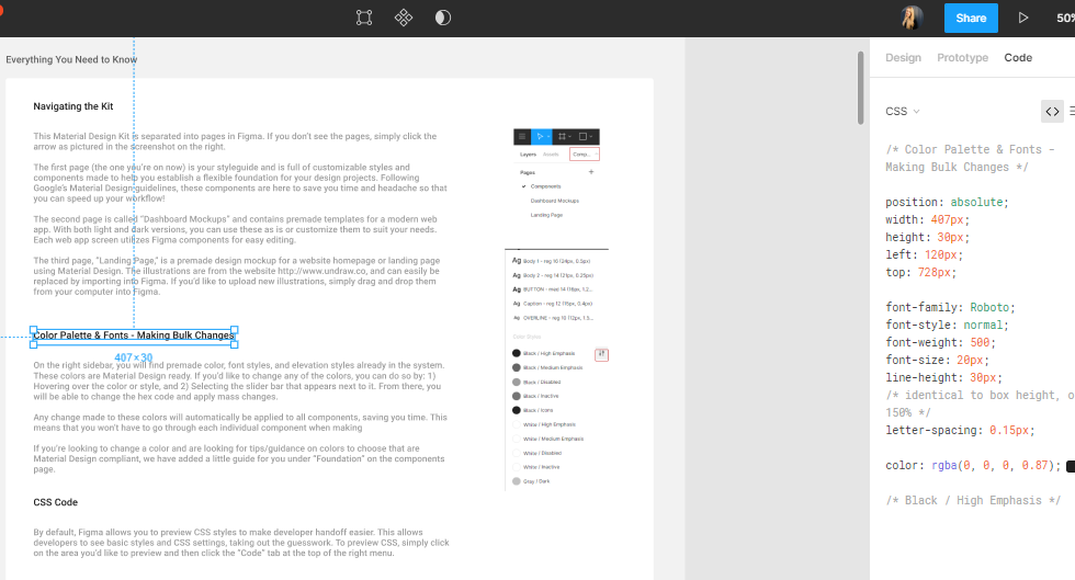 Figma Material Design Desktop Kit Documentation - SaaS Design