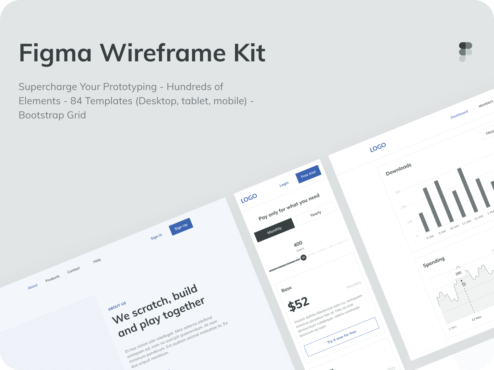 Figma wireframe kit: prototyping on steroids ⁠— in Figma.