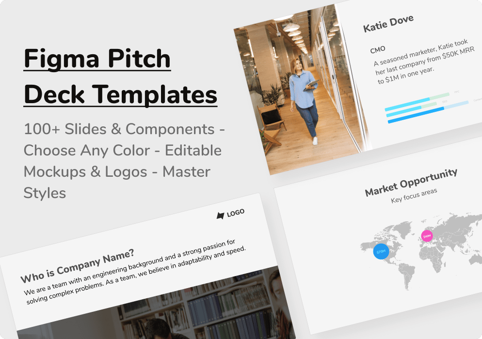 Generate the perfect pitch deck in minutes with Figma pitch deck templates.